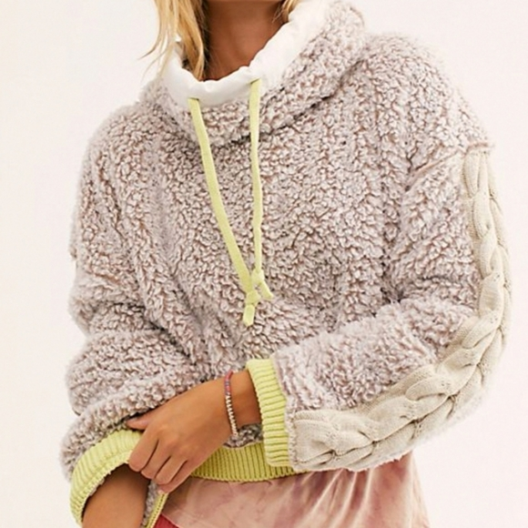 NWT Free People wild hearts fuzzy teddy pullover